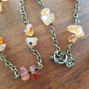 Amber Agate Real Gemstone Bronze Vintage Necklace